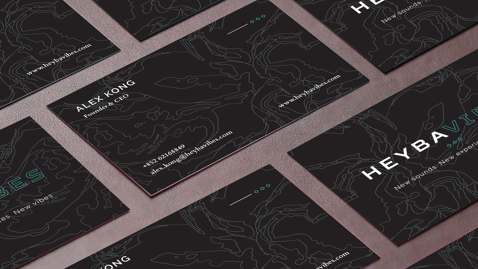 Heybavibes business cards flat